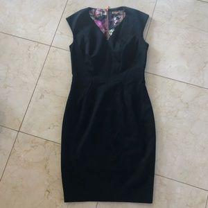 Ted Baker Like New Sz 2 Black Floral Midi Dress
